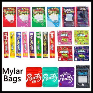 Borse Mylar Nerds corda Morsi Runtz Olimpiadi Bianco Dank Gummies Gushers Wonka Connesso Childproof Edibles sacchetto di immagazzinaggio per Herb Flower Tabacco