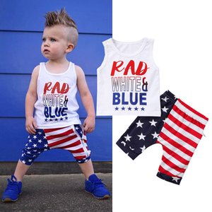 Emmababy 4th July 2Pcs Clothes Set!! Newborn Infant Baby Boy Girl Kids Two Piece Tops +Shorts Clothes Outfits