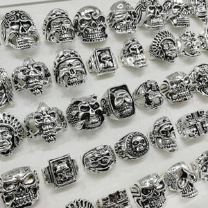 Newest punk Style 20pcs lot silver skull ring mix Skeleton big Sizes Men's women metal Jewelry gifts