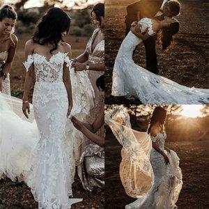 Sexy Mermaid Wedding Dresses Off-shoulder Sleeveless Full 3D-Floral Appliqued Lace Boho Bridal Dress Backless Court Train Robes De Mariée