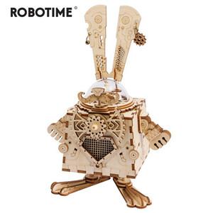 Robotime criativo diy 3d steampunk coelho de madeira jogo de montagem de brinquedo caixa de música presente para crianças adolescentes adulto am481 y19070503