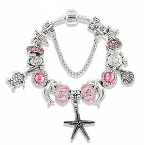 Pandora Design Charm Bracelets Vintage Bijoux en argent pour les femmes rose bleu océan série Starfish tortue animaux en cristal de diamant Perles Bangles