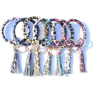 Leopar Bilezik Anahtarlık Püskül PU Deri Anahtarlık Kadınlar Wristlet Anahtarlık Çanta kolye Parti Favor T2C5224