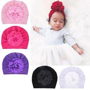 Niños Sombrero de punto Flor de perla Aleros planos Sombrero de punto Elástico Sombrero plisado Cabezal de color sólido 61