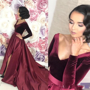 Nuovo sexy profondo scollo a V di velluto Prom Dresses maniche lunghe Borgogna alta Split floor-lunghezza Satin partito Quinceanera Plus Size formale abito di sera