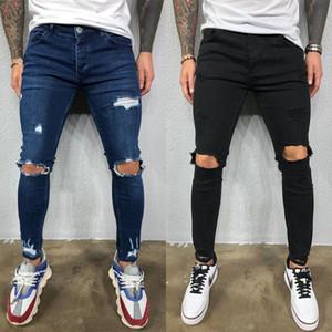 Mens Ripped Stretch Jeans Blau Schwarz dünnen beiläufigen Bleistift-Hosen Männlich Designer Jeans