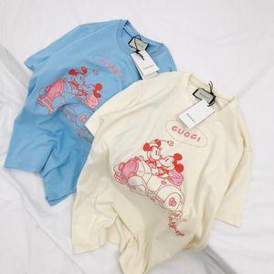 ilkbahar yaz Yeni varış lüks markalar Otomobil Micky baskılı pamuk Tee Gömlek Erkekler Kadınlar Streetwear Kazak Açık T-Shirt