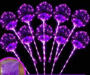 Globo intermitente LED Iluminación luminosa transparente BOBO Globos de bolas con plumas 3M String Balloon Xmas Party Decoration GGA2191