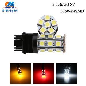 1pcs 3156 3157 T25 24SMD 288Lm coche se ilumina automóvil freno bulbos de señal de vuelta de la luz de freno de reserva externo de la lente de las luces