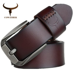 wholesale Vintage style pin buckle cow genuine leather belts for men 130cm high quality mens belt cinturones hombre free shipping