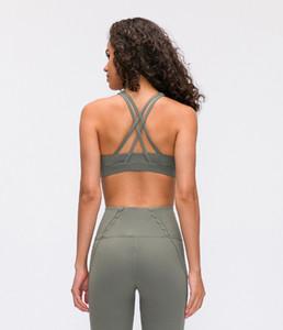 LU-15 2020 Nueva Deportes Mujeres transpirable Yoga Top Reunir Camiseta de running sin el anillo de acero atractivo de la ropa interior sin respaldo Yoga Fitness sujetador