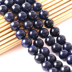 Prezzo di fabbrica Natural Blue SandStone Rotondo di cristallo Branelli allentati di pietra per la collana del braccialetto Monili che fanno in massa 4 6 8 10 12 MM