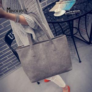 MINOFIOUS 2019 Fashion Women Leather Handbag Brief Shoulder Bags Solid Large Capacity Handbags Tote Bag Design for Female