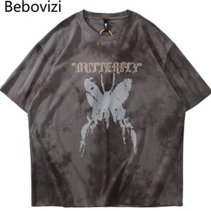 Harajuku maglietta Bebovizi farfalla Stampa Mens Hip Hop Streetwear Vintage cotone lavato Distressed T-shirt Camicie Uomo oversize