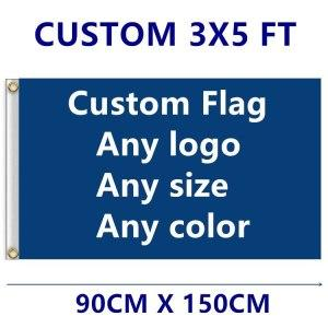 Custom 3x5ft Flag Banner Decorative Polyester Accept Any Design Logo National Single Side Digital Printing 80% Bleed with Free Shipping