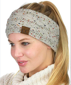 CC Serre-tête coloré tricot Crochet Twist Bandeau oreille hiver chaud bande élastique large cheveux Accessoires cheveux
