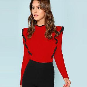 Shein fırfır Trim Anahtar Deliği Geri Tee Midtown Düğme Standı Yaka Uzun Kollu İş Kıyafetleri Kadınlar Sonbahar Düz Minimalist tişört Y200109
