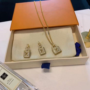 Классическое ожерелье и серьги нового европейского и американского модельера горячий стиль популярный логотип Звездные серьги и ожерелье набор