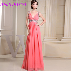 ANJURUISI 2020 Sexy Deep V Neck A Line Party Gown Backless Chiffon Prom Dress Cut Out Sequin Floor Length Gown vestidos de baile