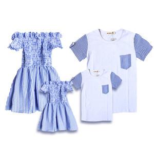 Vêtements d'épaule Une robe d'épaule de maman et fille habiller père fils T-shirt d'été tenue pour mère et enfants
