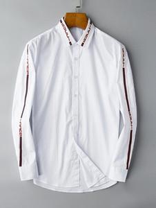2019 Amerikan iş marka kendini yetiştirme ekose gömlek, moda tasarımcısı marka uzun kollu pamuklu casual gömlek çizgili elbise gömlek # 9601