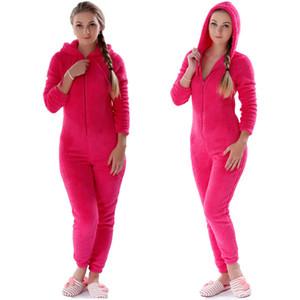 Donne Onesies Inverno Caldo Pigiama Fluffy Fleece Sleepwear Overall Hood Set Pigiama Onesie Homewear per le donne Adult Plus Size
