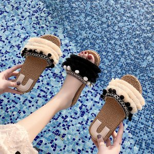 Overseas2019 Plaited Straw Article Hemp Rope Posimi Second Cool Slipper Woman 19 Summer Korean Tassels Seaside On Vacation One Font Other