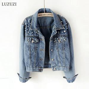 Luzuzi 5XL Jouette de denim courte Femme Ulzzang Perle perlée perlée lâche jeans décontractés veste bombardier femme printemps automne nouveau manteau