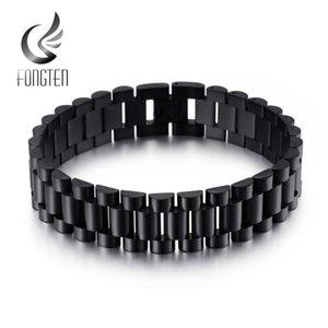 Fongten Men's Stainless Steel Watch Band Chain Bracelet Classic Black Blue Brown Bracelets Jewelry