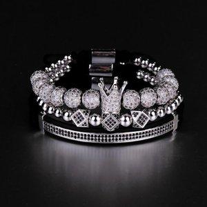 3pcs set Hip Hop Gold Crown Bracelets 8mm Cubic Micro Pave Cz Ball Charm Braided Braiding Man Luxury Jewelry Pulseira Bileklik C19021501