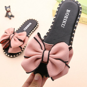 Kdis Bow Sandals Fashion Summer Slippers In Beach Soft Botton Non-slip Casual Girls Princess Shoes Flat Heel Sandals 2020