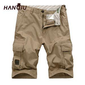 Hanqiu 2019 Yaz Erkekler Kargo Şort Düz Gevşek Moda Pamuk Erkek Ordu Askeri Kısa Pantolon Artı Boyutu 44 Y19042604