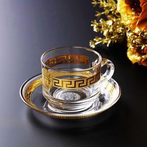 Luxy Venedik Baskılı Coffee Cup Kurşunsuz Kristal Cam Altın Kaplama Craft Kupası Vücut Ve Kupa Saucer Setleri 2adet Otel Malzemeleri Maske