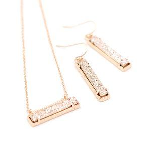 Résine haute poli en alliage Rectangle Pierre Inlay Choker collier pendentif Mini Long Bar Druzy Pendentif Collier Femmes Mode