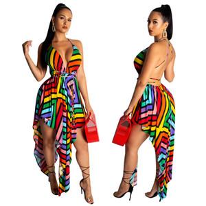 Plus Size 2XL Beach Club Wear Sexy Asymétrique arc-en-Imprimer Boîte de nuit Mini robes Big Taille XXL V-Neck Summer Party vestimentaire pour les femmes