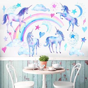 2 takım Unicorn Duvar Etiketler Çocuk Odası Çiçek Wall Stickers Noel dekorasyon Yeni Sticker Çiçek Sanatı