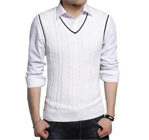 Plus sizes warm sweaters vest men sleeveless v neck jumper pullovers mens casual wool jacquard sweater coat fall winter 2019