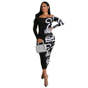 Womens Sexy Print Dress Long Maxi Dress Long Sleeve Evening Party Dresses Summer Strapless Slim Bodycon Dresses