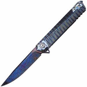 Cuchillo de bolsillo-8133 JR mosaico acero de Damasco manija colorida TC4 aleación de titanio cuchillo plegable hecho a mano del cojinete de cerámica al aire libre plegable que acampa