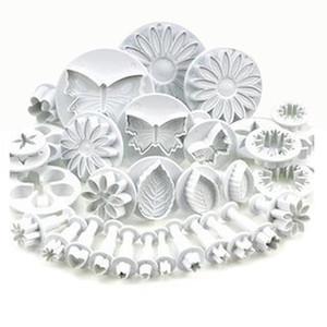 33pcs émbolo de la pasta de azúcar cueR torta de herramientas de la galleta de la galleta de la torta del molde del molde Herramientas del arte DIY 3D Sugarcraft que adorna el sistema de flor