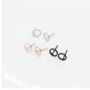 FAMSHIN Meistverkaufte NEUE Damenmode Einfache Gold Silber Schwarz Bolzenohrring Punk Rock Retro Kreis Ohrring Piercing