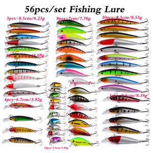 56 pz / lotto esche da pesca Set Minnow Minnow Lotto Lure Bait CrankBait Tackle Bass per BASSA ACQUISTA DI ACQUA DI ACQUA VAZZA BASSA BASSO Pesca