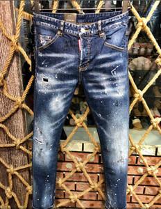 2019 новые мужчины рваные джинсовые рваные джинсы синие хлопковые модные колготки весна / осень мужские тенденции @ 1152