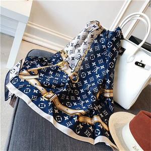 confortável, elegante, elegante, bonito das mulheres quatro estações de seda lenços marca tamanho monograma-flor projeto xale 1