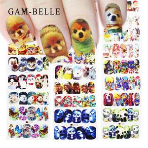 GAM-BELLE 1pc 2019 New 27 Designs Transferência bonito do cão do gato de água completa Decalques Nail Art Stickers Nails Decoração Manicure Tools