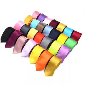 Katı Boyun Kravat 50styles Sıska Erkekler Polyester Renkli 5 cm * 145 cm Klasik Erkekler El Yapımı Boyun Kravatlar Sıska Düğün Parti Kravat AAA1891
