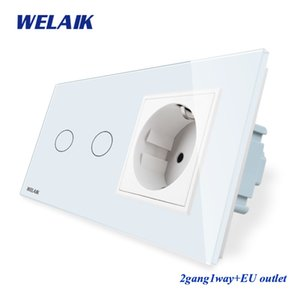 WELAIK 2Encuadre-Cristal-Panel de pared-Switch-UE Touch-Screen-Switch UE pared zócalo 2gang-1 vía AC250V A29218ECW / B T200605