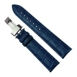 Синий наручные часы ремешок для часов Silver Нажмите Пряжка Bamboo Pattern кожаный ремешок 14мм 16мм 18мм 20мм 22мм 24мм