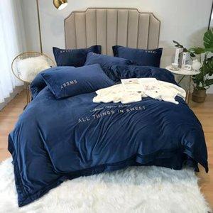FB1912AK0001 les plus populaires Weighted Housse de couette Flanelle King Bedding Set Réchauffez Cristal velours DRAP 4pcs / set