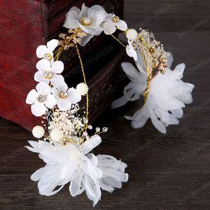 Branco Silk Yarn Flor Noiva Headband cocar Tiaras de Noiva Headpiece cabeça casamento Piece Mulheres Acessórios de cabelo